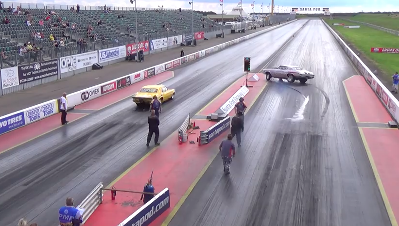 Crazy Close Call Video: Fluid On A Tire Causes A Near Disaster At Santa Pod – Wow!