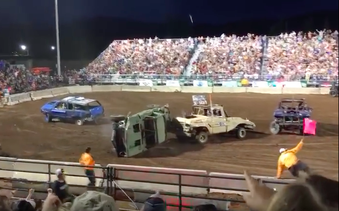 Insane Video: Watch A Demo Derby Truck Shoot Its Driveshaft Into The Grandstands! No One Killed, Somehow