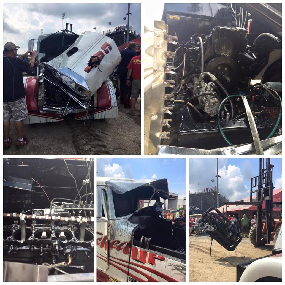 Watch The Jacked Up Motorsports Pulling Truck Barf Half A Caterpillar Engine Through Its Hood!