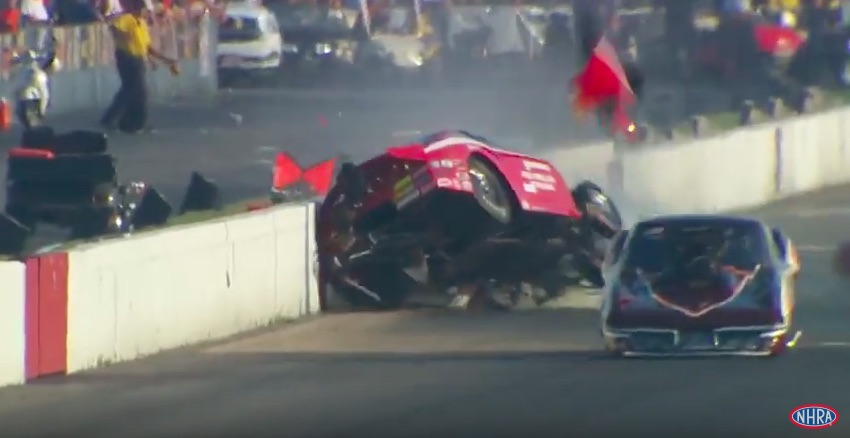Watch Jay Payne Suffer A Huge Crash In His Pro Mod At The 2016 AAA Insurance NHRA Midwest Nationals – He's OK