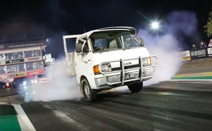 Hilarious Sleeper Video: This Mazda Flatbed Runs 12s With A Turbocharged Toyota V8 – Aussie Madness!