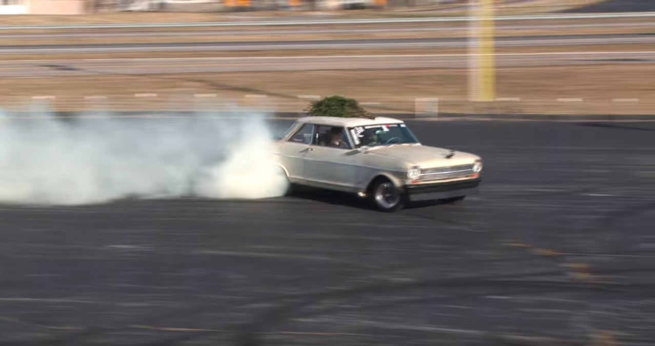 Crusty Nova Burnout With Tree On Roof Rules! And Brian Thought The Joe Dart Racing Video Was Good.