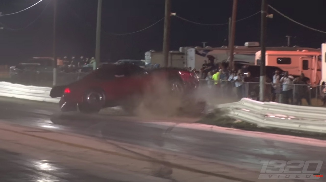 Mustang Goes Through Metal Guardrail! This Is Why Dragstrips Need Concrete Barriers.