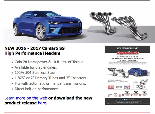 Dynatech Releases New Headers For Camaro, Corvette, Silverado – Big Power Gains To Be Had