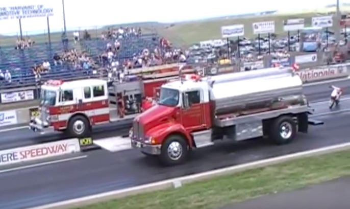 Classic YouTube: The Great Debate, Settled With This Fire Truck vs. Water Truck Race!