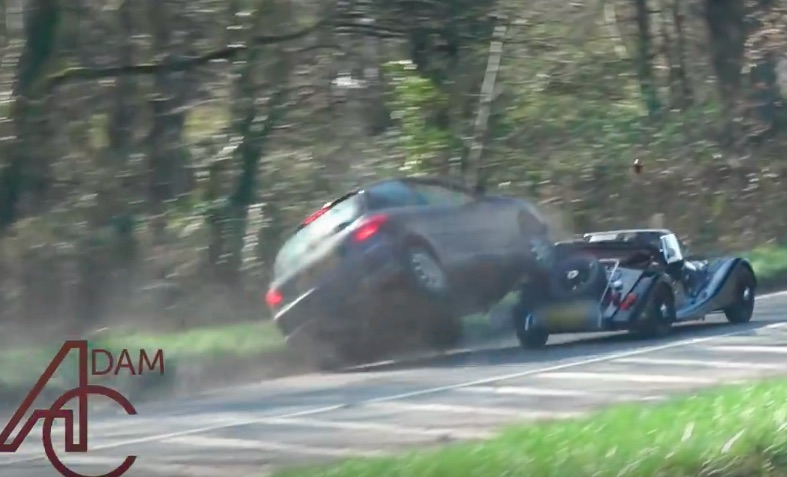 Crazy Video: A Morgan Gets Rear Ended Hardcore By A Peugeot Driver While Leaving A Car Show