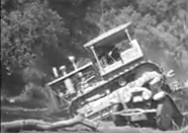 Fun Footage: Watch This Vintage Caterpillar Crush An Old Car and Nearly Throw The Operator In This 1936 Movie Clip
