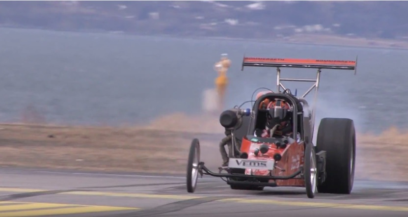 Watch The Cool Team Volvo Dragster From Norway Scream With Its Little B20 Four Banger – No Prep Masters!