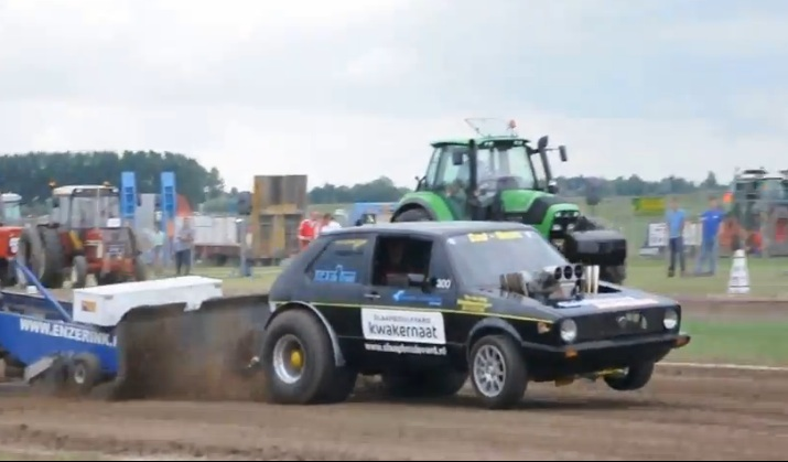 Video: Someone In Europe Put A Gnarly Blown V8 Into A VW Golf And Made It A Pulling Truck – We Love Them