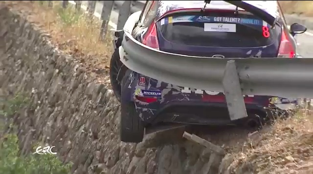 Pucker Factor Ten, Captain: The Armco Barrier Saves This Rally Team From A Cliff Dive!