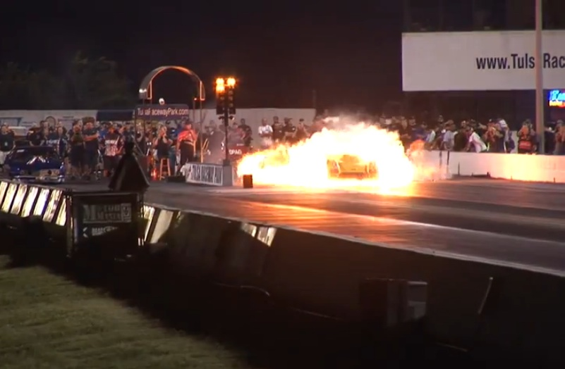 Watch Jerry Yeoman Suffer The Most Violent Starting Line Transmission Explosion And Fire In Pro Mod History