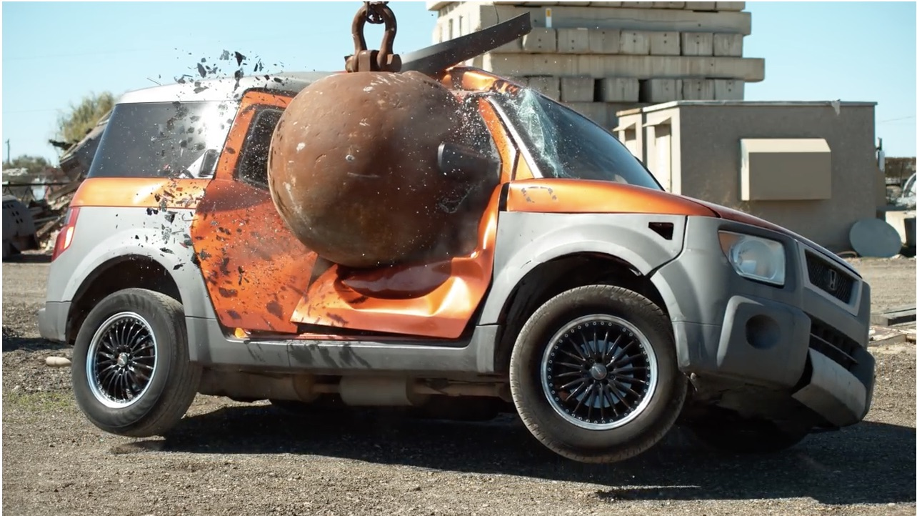 Ever Want To Hit A Beater With A Four-Ton Wrecking Ball? The Slow Mo Guys Show You What Happens When You Do!