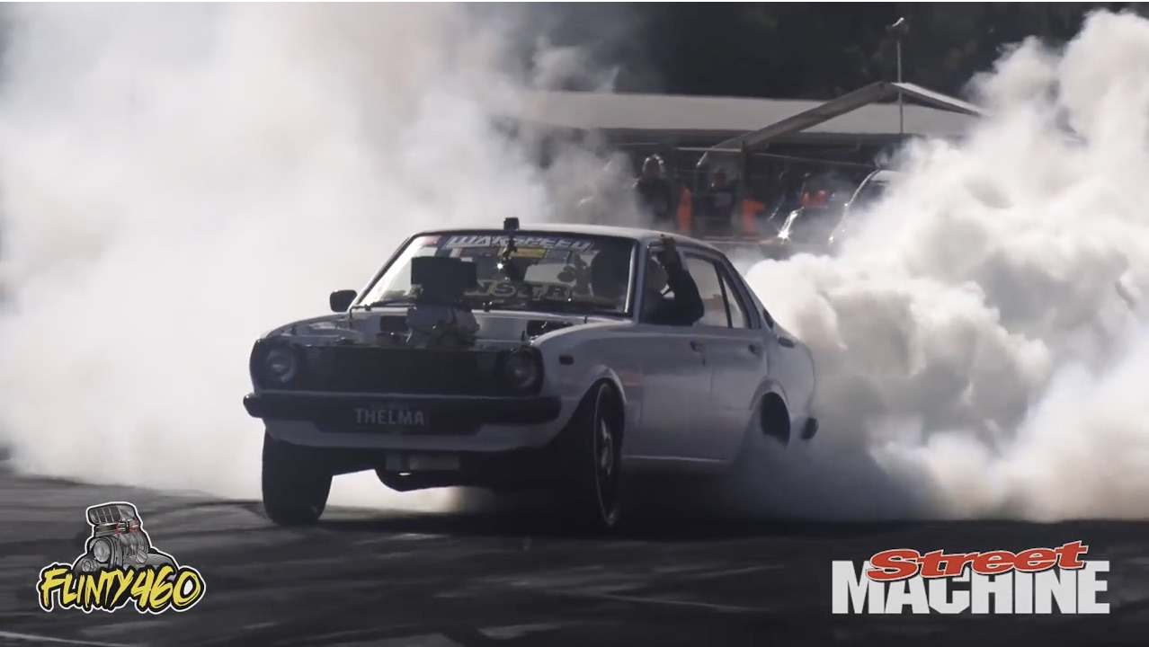 Cleetus In An Aussie Burnout Contest! Watch As He Whips This LS-Powered Toyota Around!