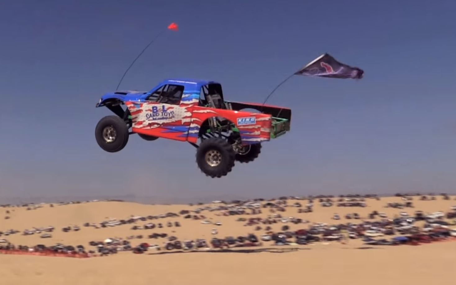 We Love Trucks Jumping Giant Sand Dunes! Watch This 169 Foot Leap At Huckfest In Pismo!