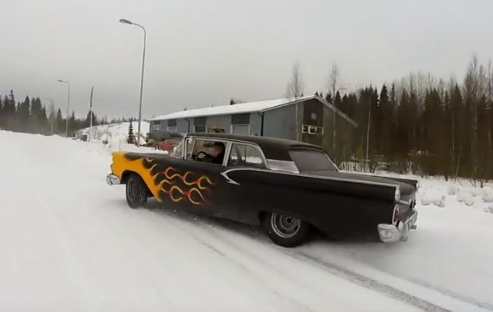Snow Drifting This Y-Block Powered 1959 Ford, Home Built EFI, AOD, And All Looks Like Fun