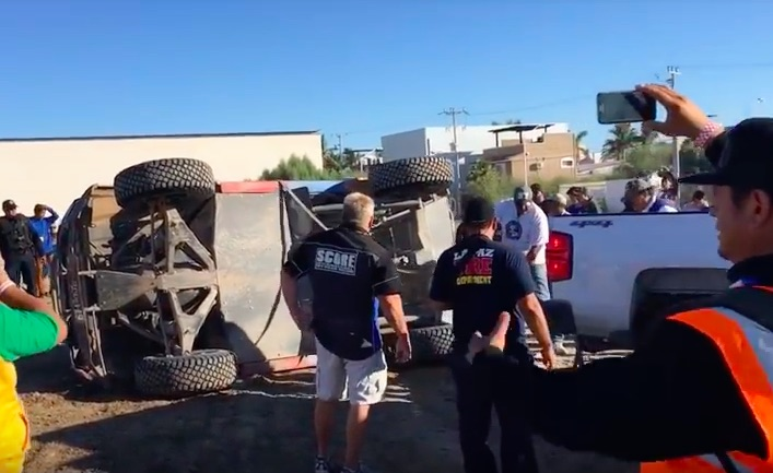 Roll It Over: Watch Dan McMillin's Truck Get Turned Right-Side Up After Rolling Just Yards From The Finish At Baja!