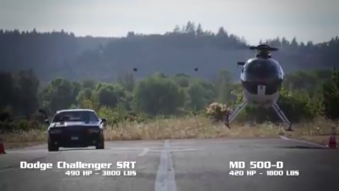 Challenger Versus Helicopter In A Down-And-Back Race! Place Your Bets!