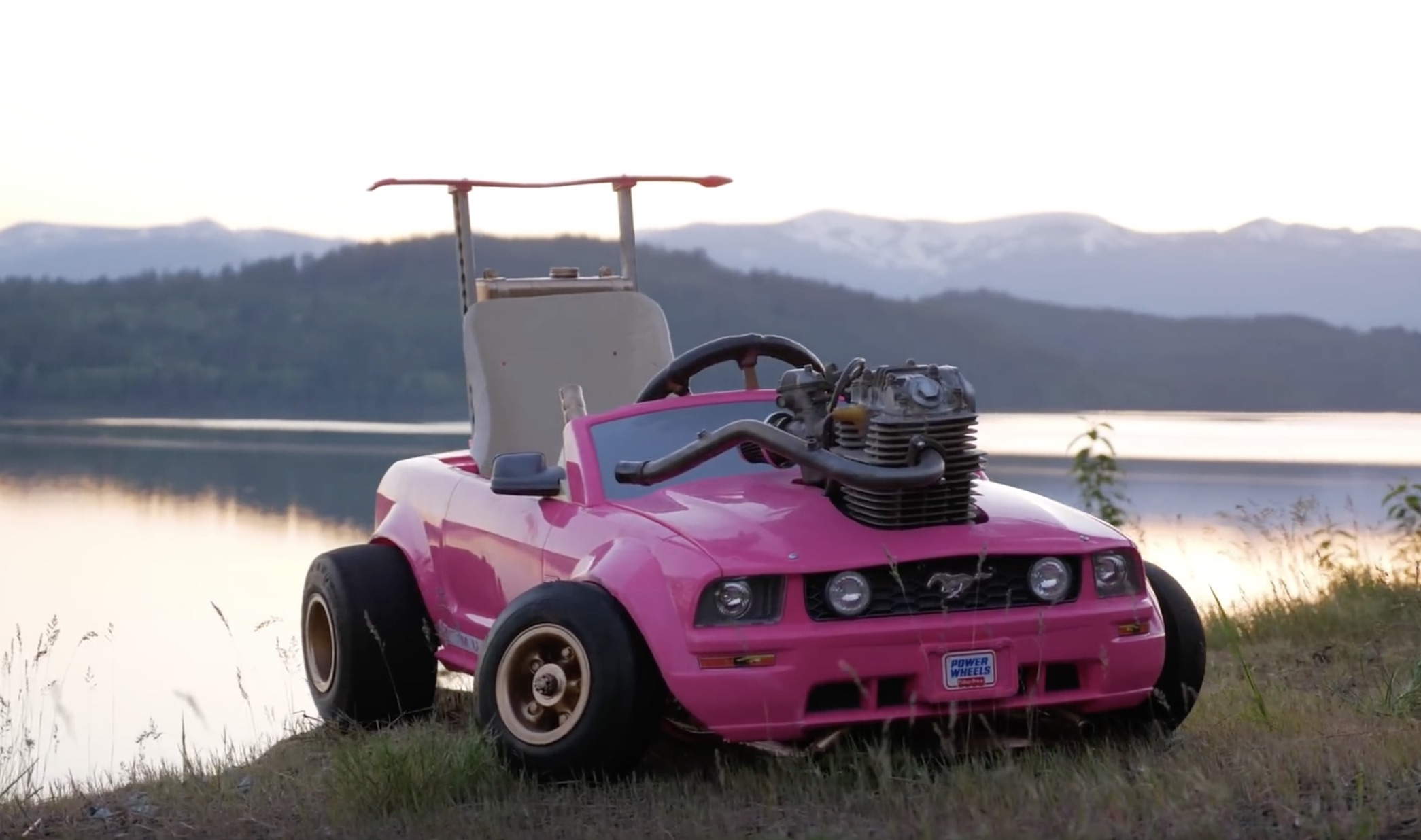 Concentrated Formula: This Motorcycle-Engined Power Wheels Mustang Will Kill You Twice As Fast!