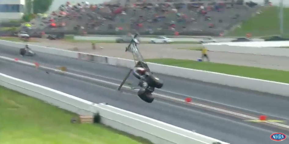 Blow Over Video! Watch A/Fuel Racer Steve Collier Suffer The First Blow Over In 11 Years At An NHRA National Event