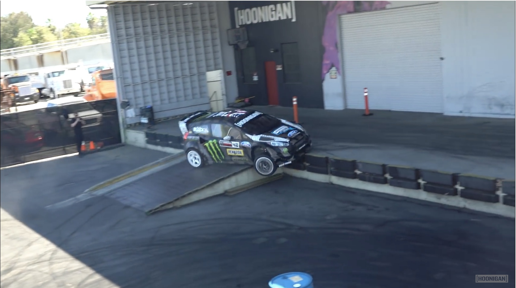 Lead By Example: Ken Block Tears Up The Hoonigan Shop's Lot With His Rally Fiesta!
