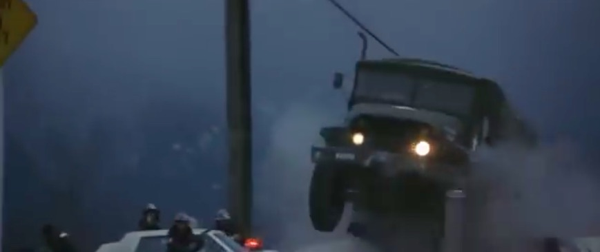 Friday Moment Of Bliss: The GMC M135 Scene From Rambo: First Blood – Malaise Era Mopars Going Down HARD