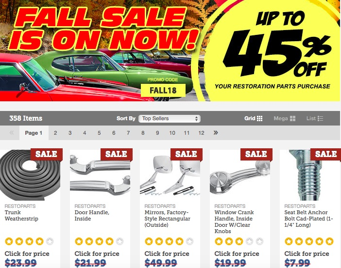 The OPGI Fall Sale Is On! Save Up To 45% On The Parts You Need For Your Restoration Or Freshen Up!