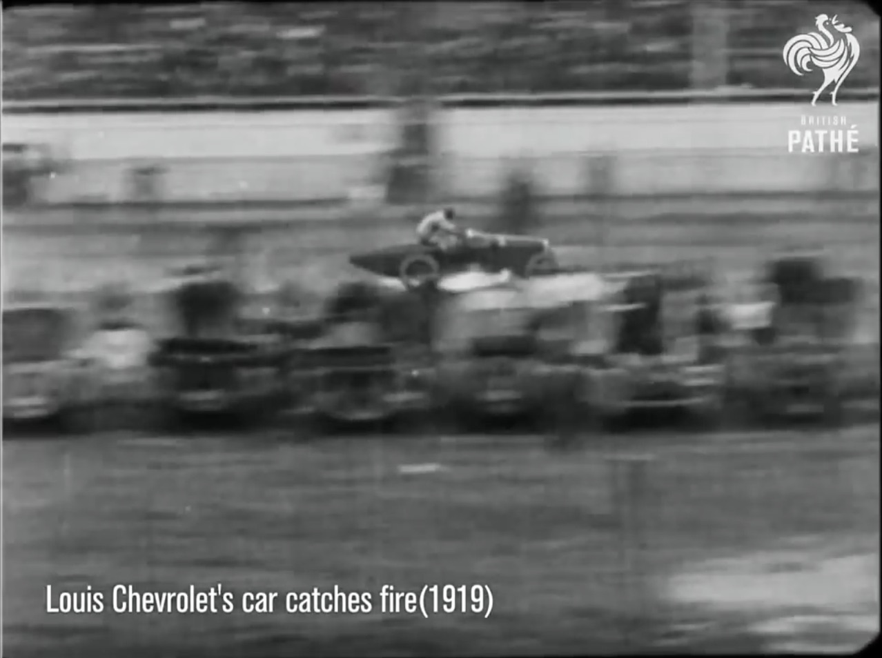 Classic YouTube: The First Recorded Automobile Racing Incident? Louis Chevrolet's 1919 Fire At Coney Island