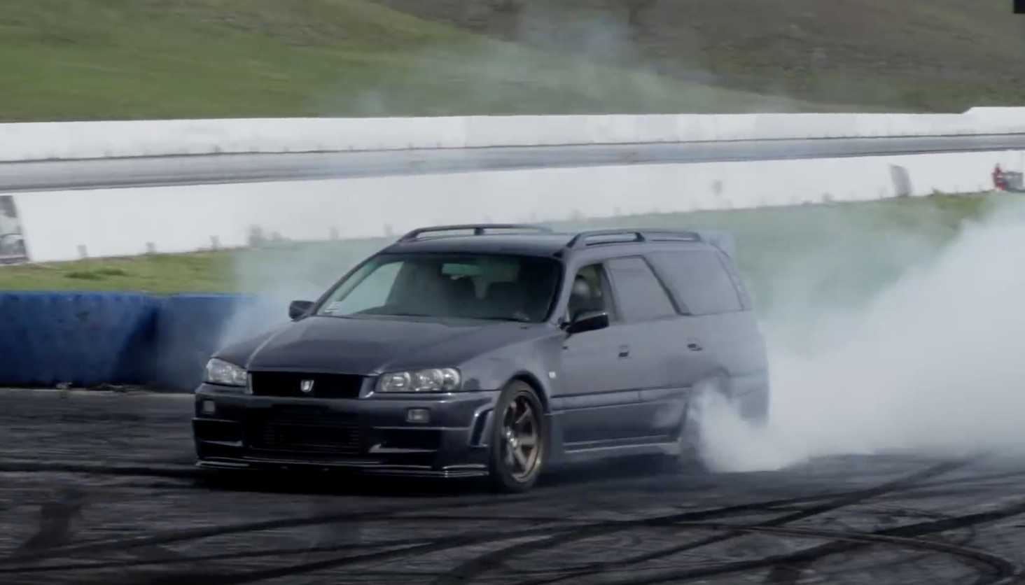 A Rodeo With A Double Unicorn: Getting The Turbo V8 Nissan Stagea Wound Up On The Skidpad!