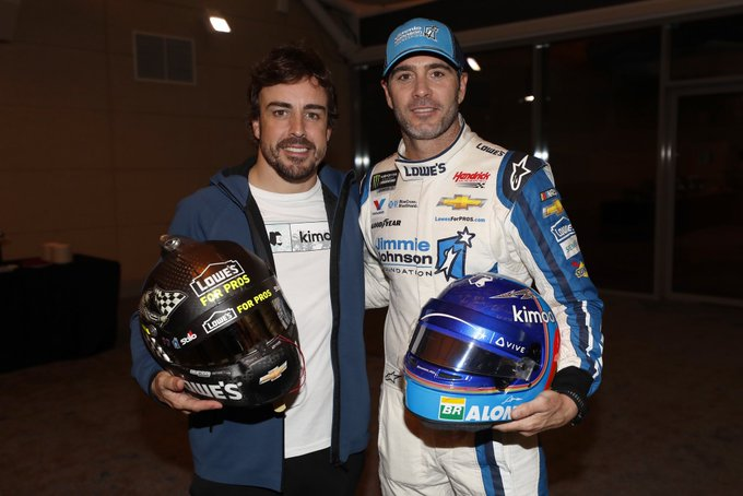 Ride Swap: Jimmie Johnson Hopped In Fernando Alonso's F1 Car and Alonoso Hopped Into Johnson's Stock Car In Bahrain!