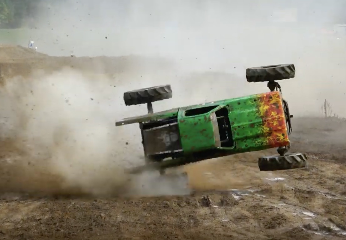 Who Left That There? This Monster Truck Tire Takes Out A Mud Racer At Dennis Anderson's Muddy Motorsports Park