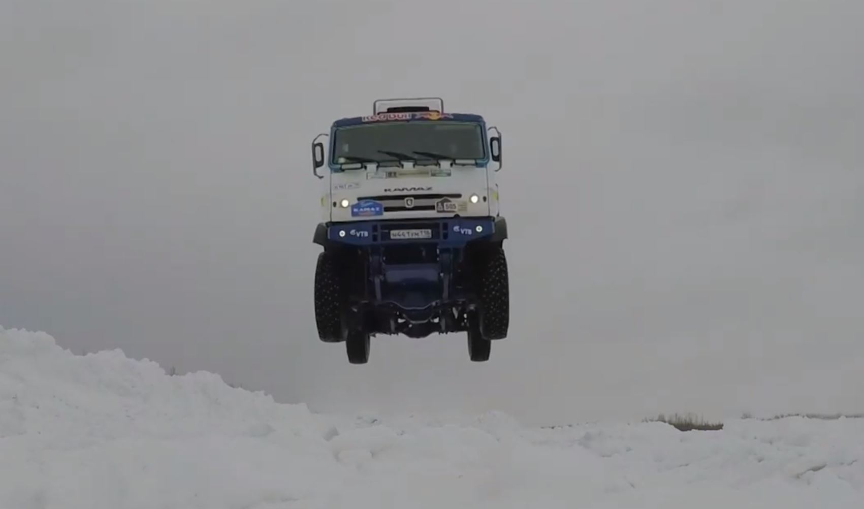Watch This Russian Kamaz Dakar Rally Truck Flying Through The Snow And Through The Air