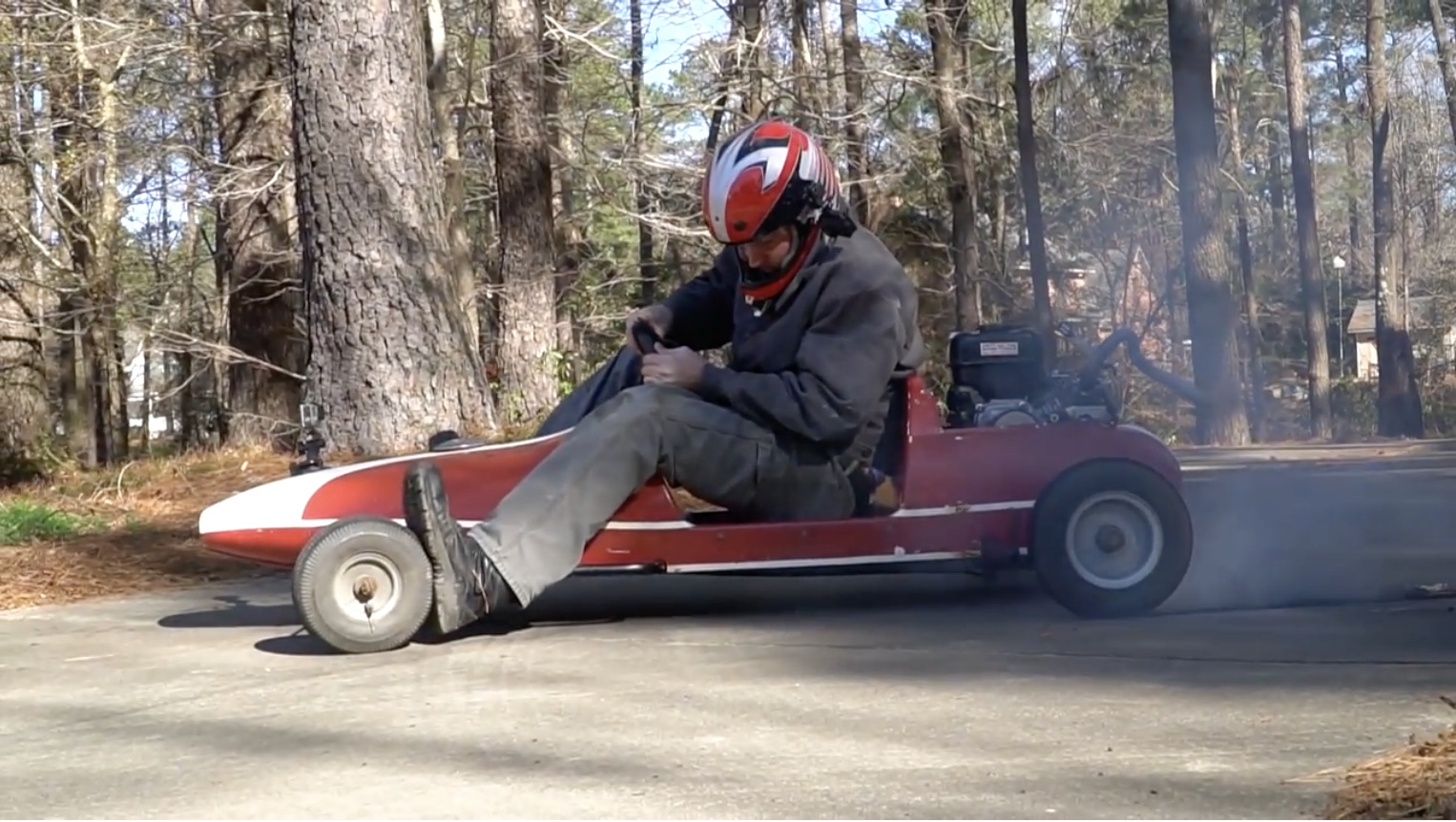 Kid-Friendly Burnout Machine: This Vintage Go Kart Can One-Wheel Peel Like A Mother!