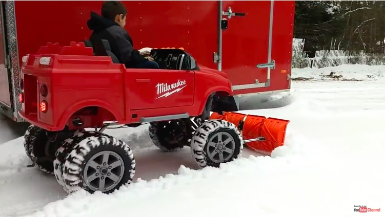 Snow Kiddin': This Kid's Dad Built Him A Hot Rodded Power Wheels Plow Rig!