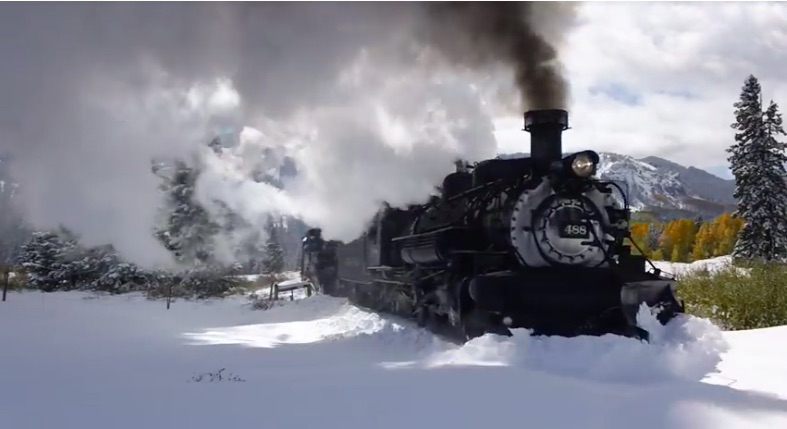 Watch Two Steam Locomotives Work To Plow The Tracks On The Cumbers and Toltec Line