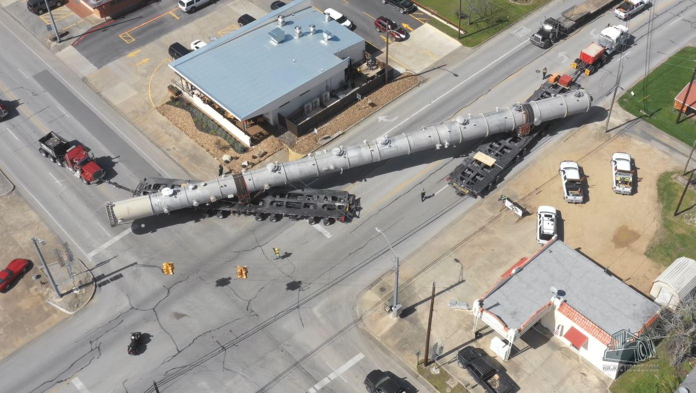 Moving Big Stuff, Like This Giant Demethanizer Tower, Takes Big Ass Trucks