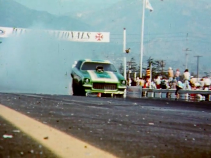 Incredible 1974 Video Takes Us in the Pits And On The Track With The Immaculate Green Elephant Funny Car Team
