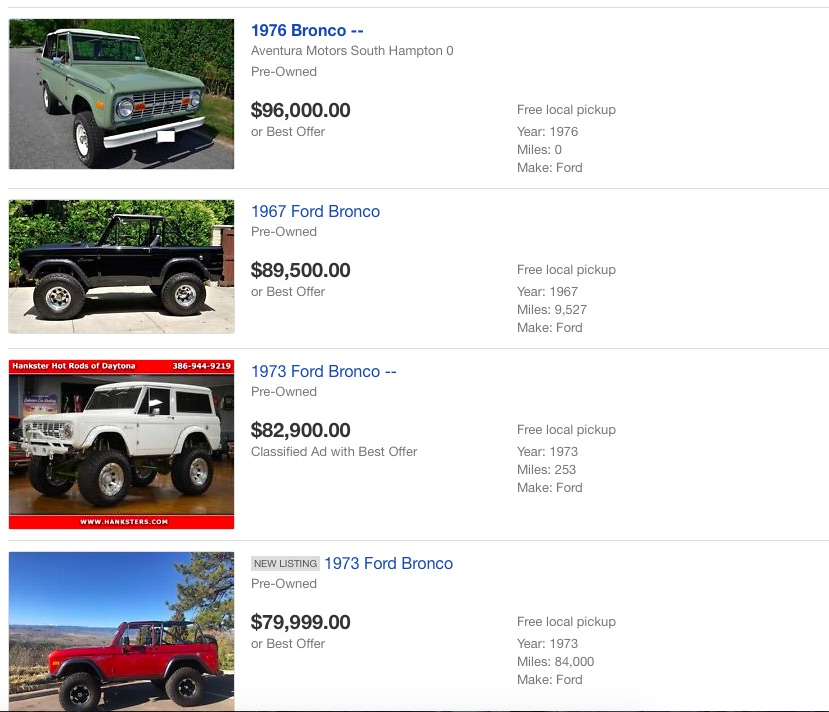 Question of The Day: Are Generation One Broncos The Most Stupidly Priced Old Cars On Earth?
