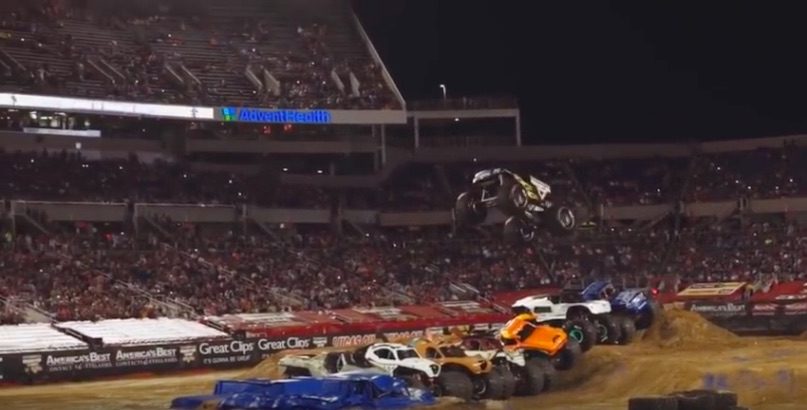 This Monster Truck Jumping Seven Other Monster Trucks Is Mental – High Flyer For Sure!