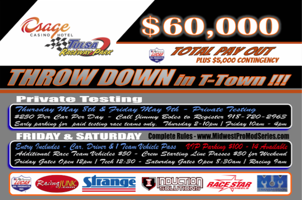 The Throw Down In T-Town Is On! LIVE Pro Mods, Radials, Doorslammers And More From Tulsa Raceway Park