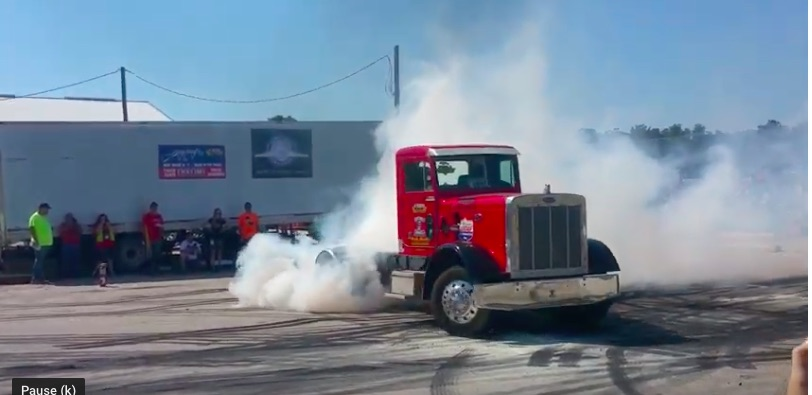 Happy National Donut Day: Watch This Hot Rodded Big Rig Turn Slow Motion Smokey Circles