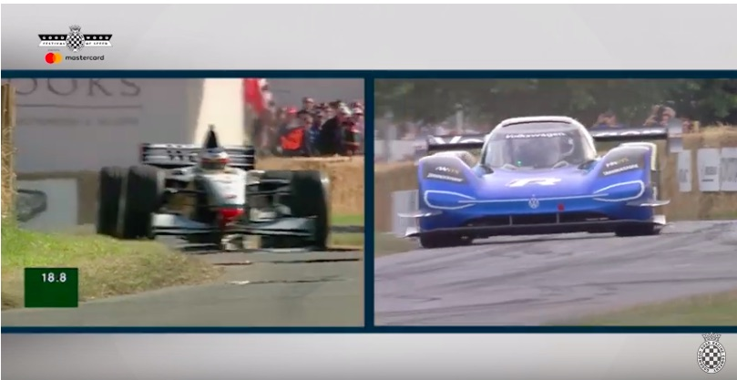 Awesome: Watch The VW ID.R and The McLaren F1 Runs Up Goodwood Side By Side 20 Years Apart