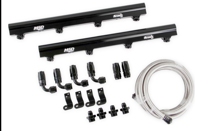 MSD Releases Atomic Billet Fuel Rails and LS/LT Atomic AirForce Intake Manifolds in Black & Gray