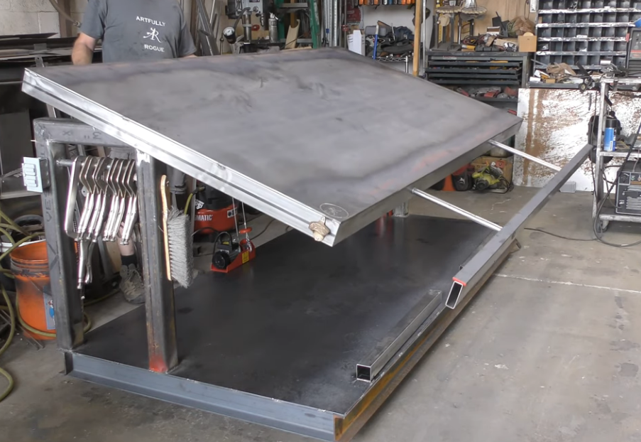This Tilting And Extending Welding Table Is A Pretty Cool Home Built Project That We'd Love To Have In The Shop