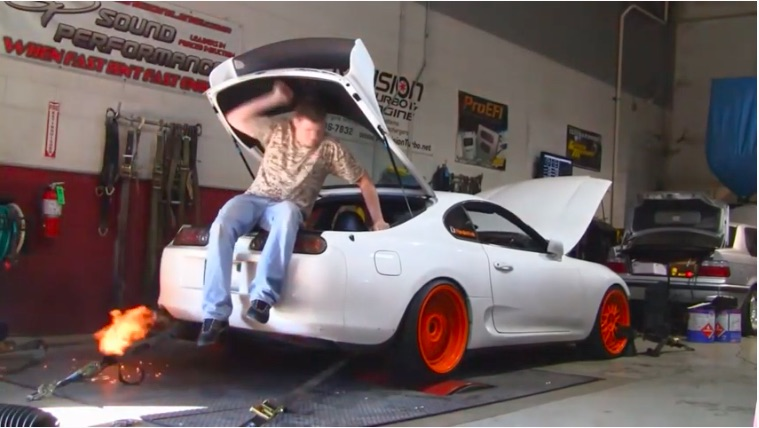 Watch This Toyota Supra Scream Out 750 Rear Wheel Horsepower With A Trunk Monkey Installed