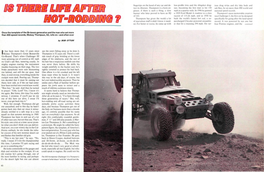 Great Read: This 1981 Profile Of Mickey Thompson Is Informative, Wacky, Raw, and Real