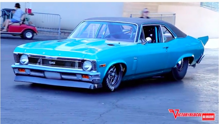 Nova Monster: Steve Spiess Has A 565ci, Twin-Turbo Ford Boss Engine In His Chevy And It Flies – Drag Week Car!