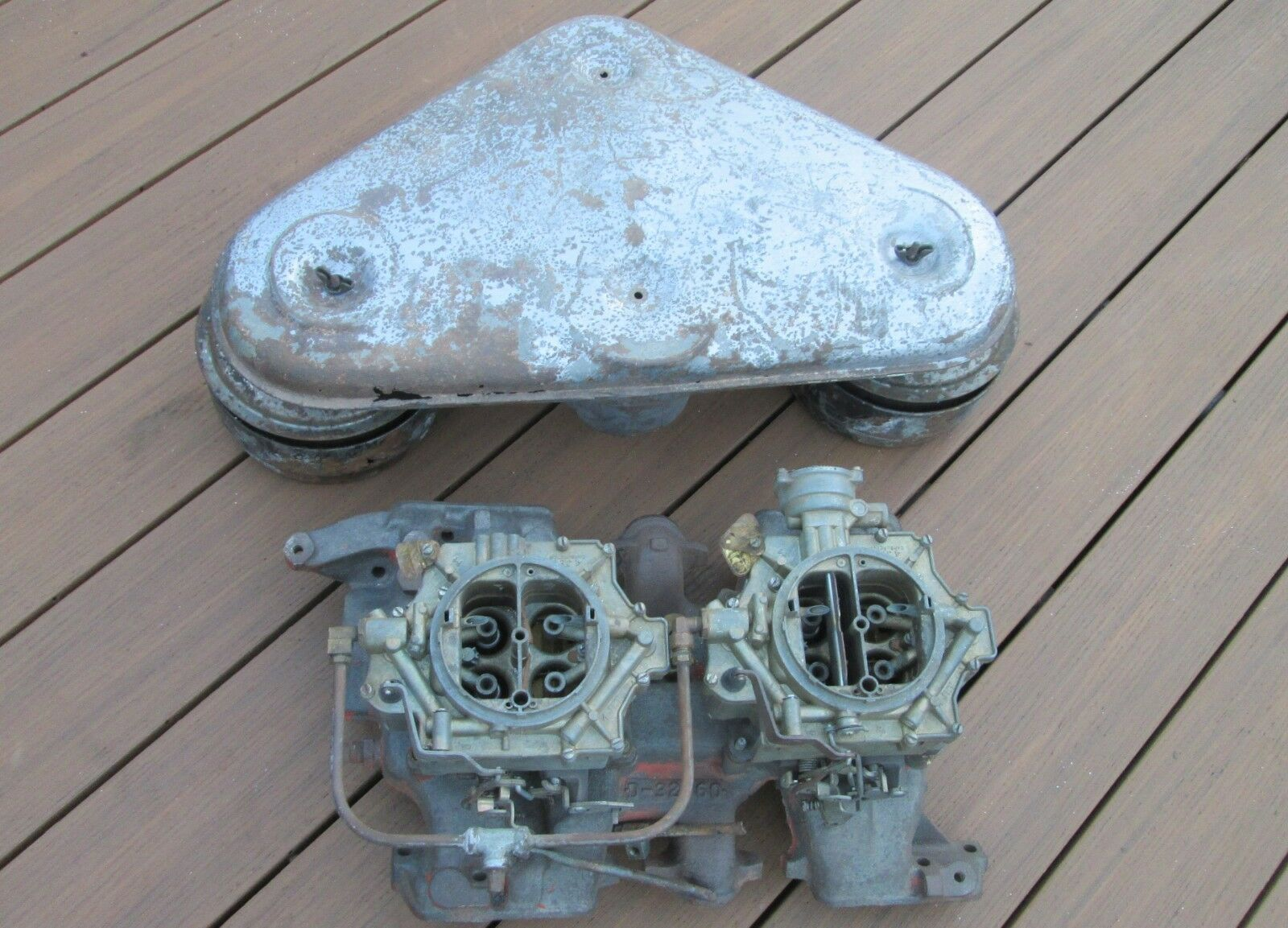 Dual Quad Deal: This 1956 Pontiac 2×4 Intake, Carb, and Air Cleaner Setup Is Exceedingly Rare!