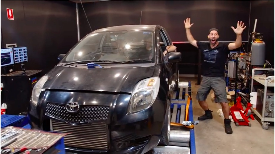 Watch The Mighty Car Mods Guys Make 200hp To The Tire With Their Yaris Hilton Project! Fun!