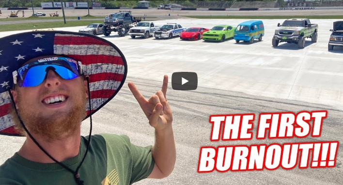 Cleetus And Friends Test Out The Freedom Factory Burnout Pad With The First Burnout Competition! Winner Gets A Boat!