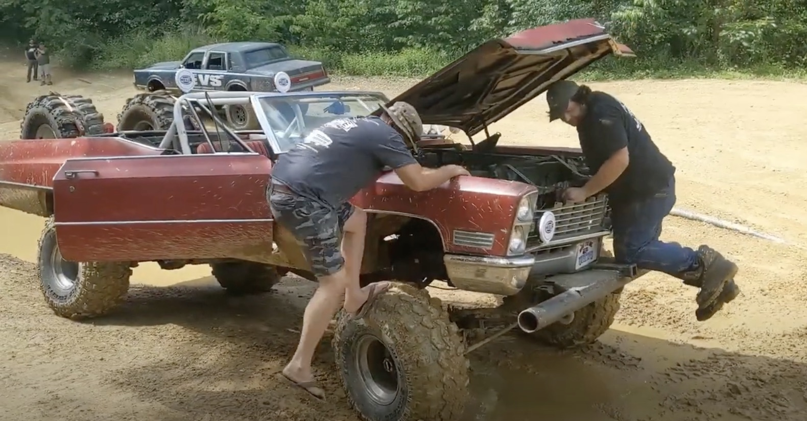 Behemoth Bogger: Off-Roading A Monster Cadillac Convertible Trar In The Woods